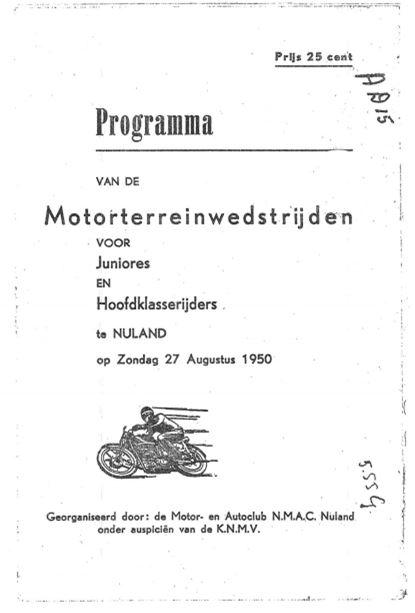 Programmaboekje van de motorrace op 27 augustus 1950.