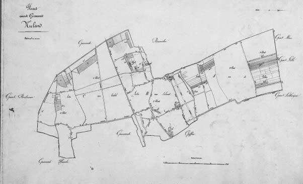 De kadasterkaart van Nuland uit 1832. Het turfsteken gebeurde in Sectie C op de kaart, het gedeelte van het Vinkel dat bekend stond als 'Het Broek'.